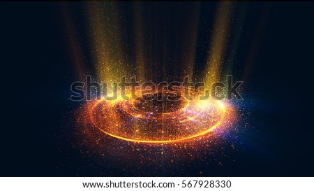 Abstract neon background. Shine swirling. Glowing spiral cover.  Bubbles elegant. Halo around. Power sparks data particle. Space tunnel. Glossy jellyfish. LED color ellipse. Glint glitter beam tech stock photo