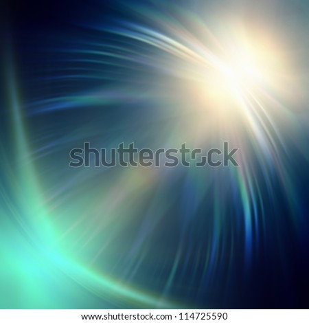 abstract neon blue rays lights over dark background