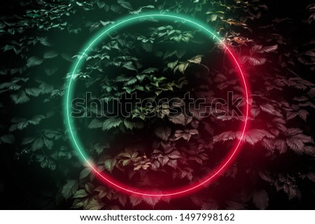 Abstract neon glow frame sign in the shape of a circle, Futuristic sci-fi background with bright red-green lights, retro style #1497998162