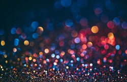 Abstract neon halftone color bokeh texture. Sparkling blur holiday light. Christmas nad new year eve blurred background. Disco music bright glow design.