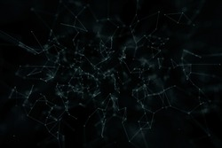 Abstract network lines and dots on dark blue green; background. Selective focus used.