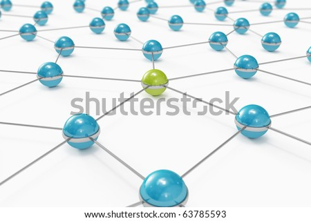 Abstract network made out of balls with green one standing out