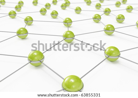 Abstract network made out of connected green balls