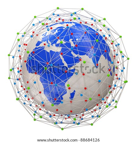 Abstract Network Planet isolated on white background