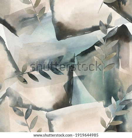 Abstract nordic print with geometric shapes and floral branches. Watercolor seamless pattern. Hand drawn marble illustration. Mixed media art