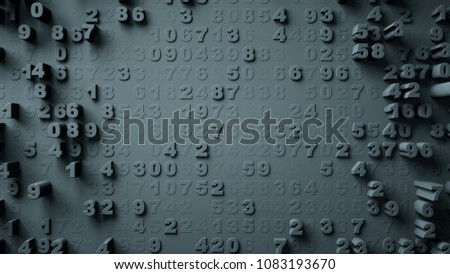 Abstract Numbers Random Motion 3d rendering