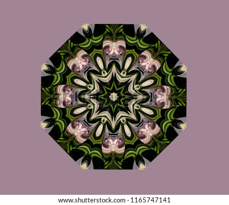 Abstract octagonal knot. the colored figure of altered images of roses. Eight-sided multi-colored ornament in natural colors of roses on a pastel purple background.