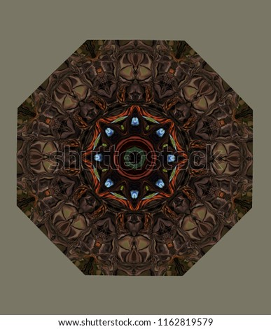 Abstract octagonal knot. the figure of the modified image of the oak tree against the sky. Eight-sided ornament in natural colors of oak tree and sky on a greenish-gray background.