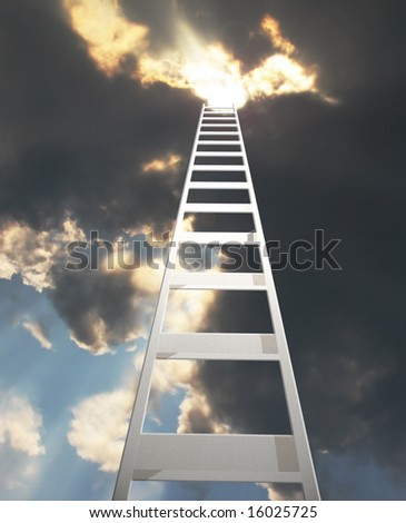 abstract of a ladder extending to a dramatic clouds