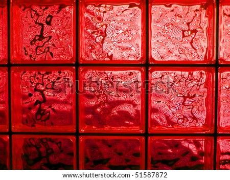 Abstract of a red tone glass block window frame stock for Glass block window frame
