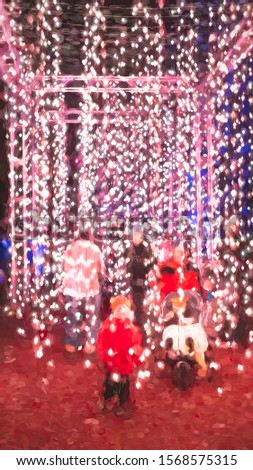 Abstract of adults and children exiting from a tall immersive installation with lots of glowing lights on many ribbons hung along a garden path at a holiday light show, with digital impasto effect