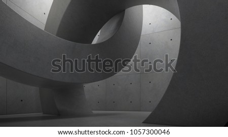 Abstract of architecture space with rhythm of circle concrete block and light and shadow of the sun,3D render #1057300046