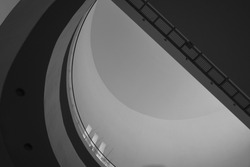 Abstract of beautiful architecture of  buildings. light and shadow with minimal style and circle shape