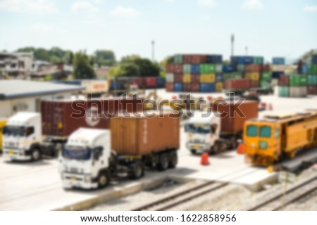 Abstract of blur: Business Logistics and transportation concept, of Container Cargo train and truck for Logistic import export and transport industry background