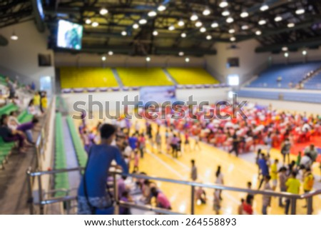 Abstract of blurred people in the public indoor stadium