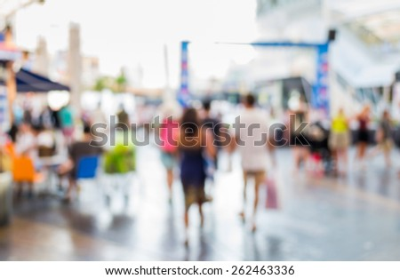 Abstract of blurred people walking in the shopping center #262463336
