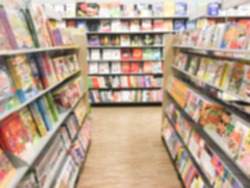 Abstract of blurred shelf in the book store