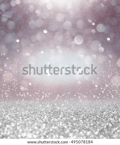 Abstract of Bright and sparkling bokeh background. Silver bokeh-blurred lighting from glitter texture. vintage style background. #495078184