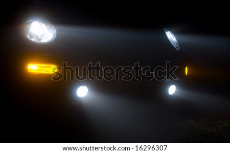 Abstract of car headlights in the fog