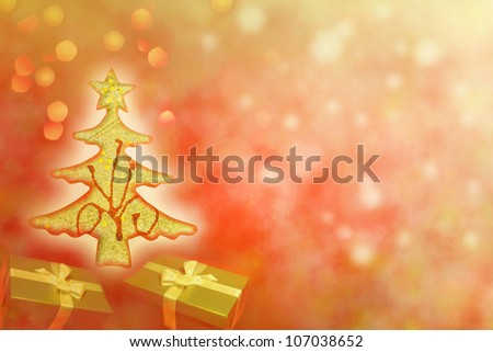 Abstract of christmas tree with gifts background concept