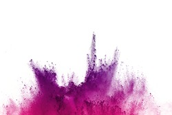 Abstract of colored powder explosion on white background. Violet and pink powder splatted isolate. Colored cloud. Colored dust explode. Paint Holi.
