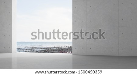 Abstract of concrete interior with sun light cast the shadow on the floor ,Geometric structure design,Museum space on sea view background, Perspective of brutalism  architecture,3d rendering