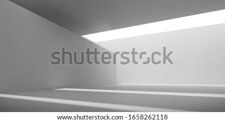 Abstract of concrete interior with sun light cast the shadow on the floor, Geometric structure design,Museum space,Perspective of brutalism  architecture,3d rendering