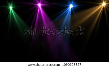 abstract of empty stage with colorful spotlights or Several bright projectors for scene lighting effects . can be used for display or montage your products #1090328597