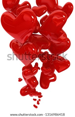 Abstract of flying hearts background. 3D rendering illustration