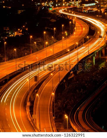 Abstract of light trail at the busy highway