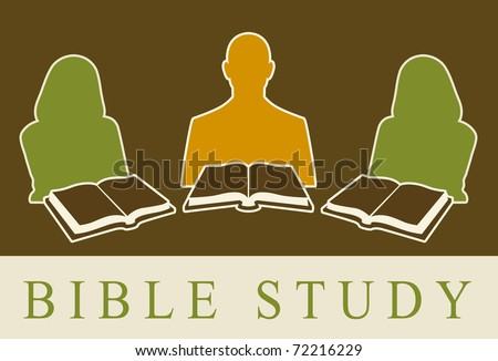Abstract of people studying the Bible.