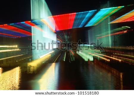 Abstract of skyline at night, Miami, Florida