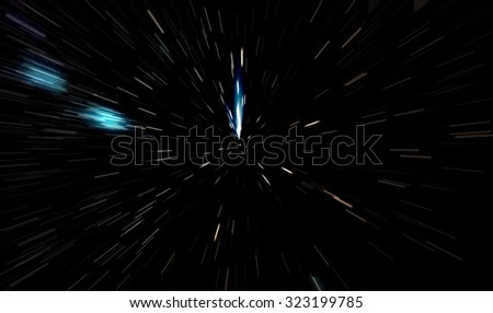 Abstract of stars or particle zoom in motion with a black background.