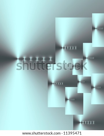 Abstract of ten overlaid silver cyan and grey rectangles of various sizes, with six points of light in a horizontal line on each.