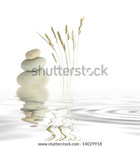 Abstract of three natural grey pebbles balanced on top of each other, with a selection of wild grasses to one side reflected over gray rippled water. Set against a white background.