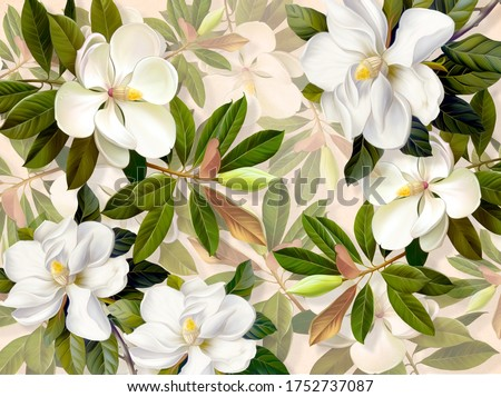 Abstract of white Magnolia flowers. Print for interior printing.