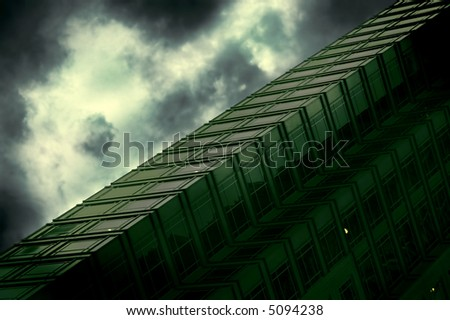 abstract office building in stormy