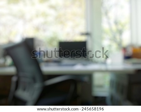 abstract office with computer blur background