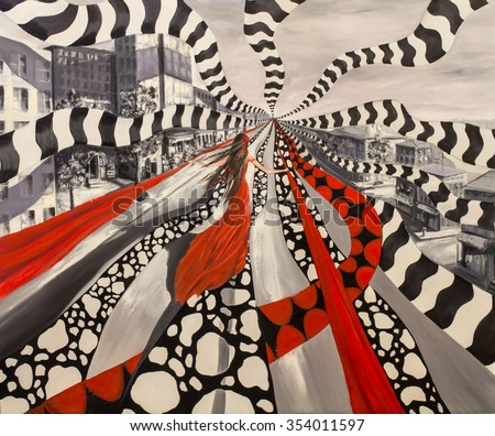 Stock Photo Abstract oil contemporary painting, girl between wrapping ribbons in a fantasy ghost city.