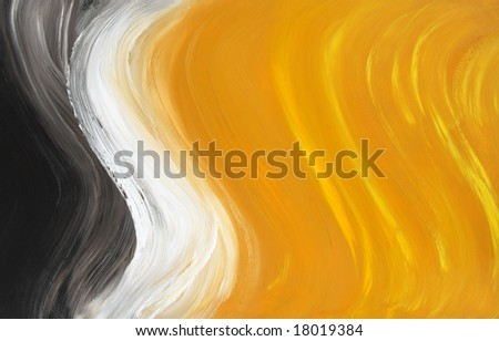 Abstract oil-painted curves. Highly detailed oil painting.