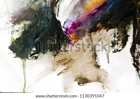 Abstract oil painting background. Oil on canvas texture. Color texture. Fragment of artwork. Brushstrokes of paint. Modern art. Contemporary art. Colorful canvas. Watercolor drips