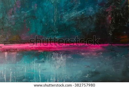 Abstract oil  painting background. Oil on canvas texture.\ Hand drawn oil painting.Color texture. Fragment of artwork. Brushstrokes of paint. Modern art. Contemporary art. Colorful canvas. Dark Blue