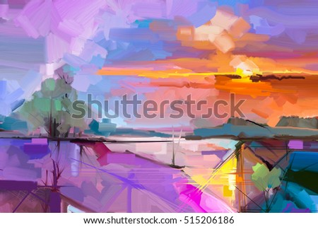 Abstract oil painting landscape background. Artwork modern oil painting outdoor landscape. Semi- abstract of tree, hill with sunlight (sunset), colorful yellow - purple sky. Beauty nature background