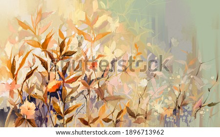 Abstract oil painting of colorful flower with orange, red, yellow leaf. Illustration hand painted, nature of fall, autumn season. Paint design for natural wallpaper. Vintage floral color background Foto stock ©