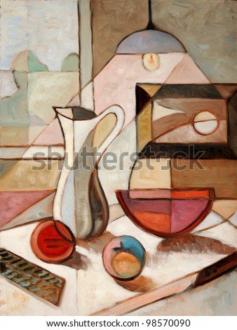 Abstract oil painting of still life with pitcher and fruits