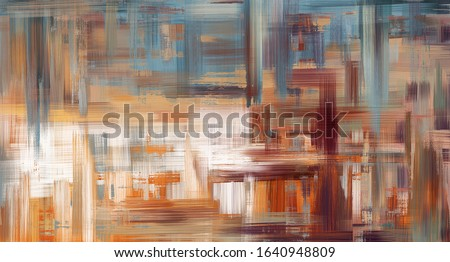 Abstract oil painting on canvas, hand drawn artwork in contemporary style. Modern art made with a blue and brown paint and rough brush strokes.