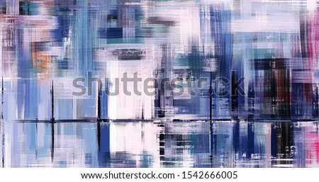 Abstract oil painting on canvas, hand drawn artwork in contemporary style with reflections. Modern art made with rough brush strokes.