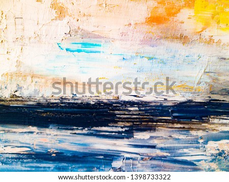 Abstract oil texture background. Paint on canvas. Fragment of artwork. Abstract landscape painting. Contemporary art.