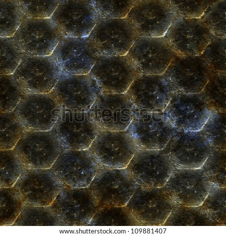 Abstract old rusty knurling  mesh panel. Seamless tiling. Illustration.