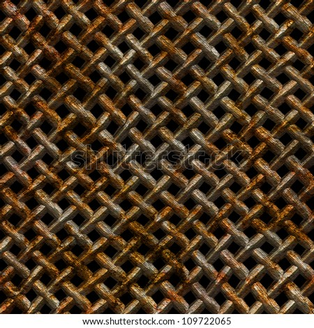 Abstract old rusty wire mesh texture. Seamless tiling. Illustration.